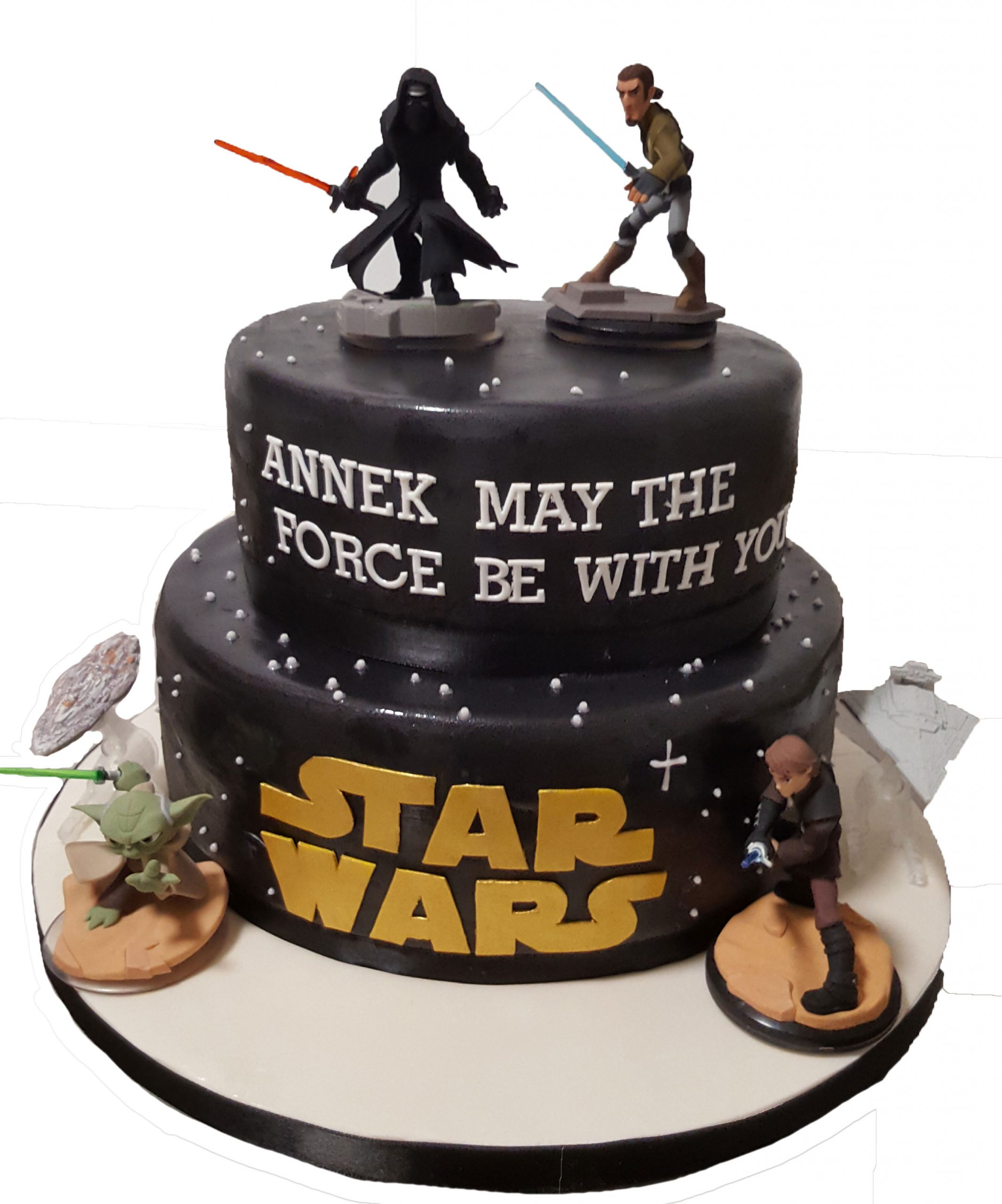 Marvelous Cake Boutique 2 Tier Star Wars Birthday Cake Cb Nc094 Cake Funny Birthday Cards Online Fluifree Goldxyz